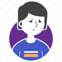 avatar, boy, expression, man, people, sad, t-shirt icon