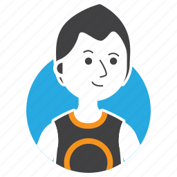 avatar, boy, emoji, expression, man, people, shaggy hair icon