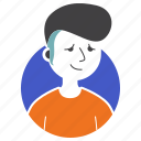 avatar, boy, expression, hairstyle, man, millenial, people icon