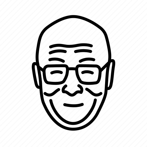 dalai lama, face, head, old man, person, persona icon