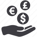 coin, donation, finance, hand, handout, loan, money icon