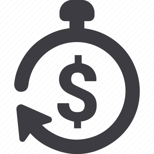 chronometer, dollar, money, stopwatch icon
