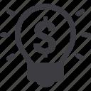 business, dollar, finance, idea, investment, light bulb icon