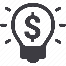 business, dollar, finance, idea, investment, light bulb icon