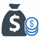 finance, investment, money bag, profit icon