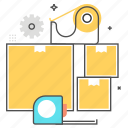 space, tape, box, package, materials, protection, dimensions icon