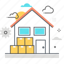 appartment, belongings, home, house, leave, move out, packing icon