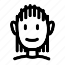 cornrows, face, hair, person, persona, personas, smile icon