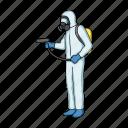 fight, man, personnel, pest, protective, service, suit