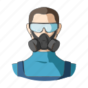 man, mask, protection, respirator, toxin, worker icon