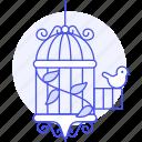 animal, bird, birds, cage, climbing, little, open, pet, plant