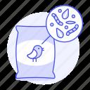 animal, bag, bird, care, food, pet, seeds, wormds