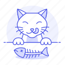 animal, bone, cat, craving, eating, fish, happy, kitty, pet, satisfied icon