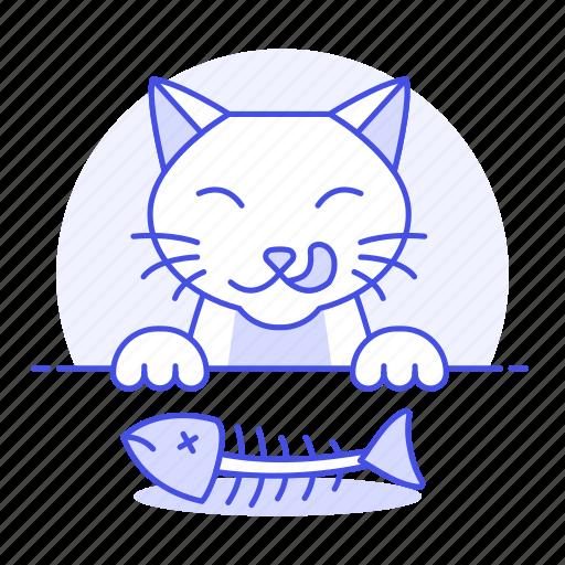animal, bone, cat, craving, eating, fish, happy, kitty, pet, satisfied icon