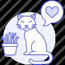 animal, cat, heart, kitty, love, pet, plant, pot