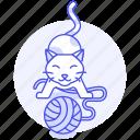 animal, ball, cat, enjoy, frolic, kitty, pet, playing, red, wool, yarn