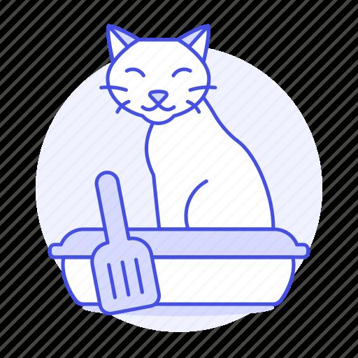 animal, cat, excretion, kitty, litter, pet, pooping, sand, sandbox, scoop icon