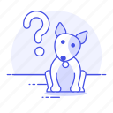 animal, curious, dog, interested, mark, pet, puppy, question, wonder