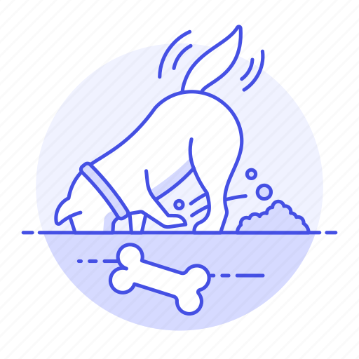 animal, bone, digging, dog, earth, ground, heap, hole, of, pet, pile, searching icon