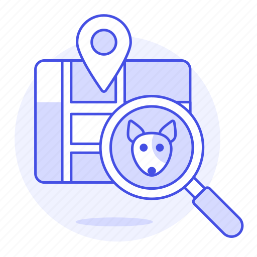 animal, app, devices, dog, finding, location, magnifier, map, pet, pin, puppy, smart, tracker, tracking icon