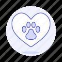 animal, cat, dog, emoji, footprint, heart, love, paw, pet, pink, pride