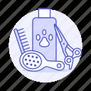 bath, brush, care, comb, grooming, liquid, paw, pet, scissors, shampoo, soad, supplies, tools
