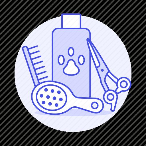 bath, brush, care, comb, grooming, liquid, paw, pet, scissors, shampoo, soad, supplies, tools icon