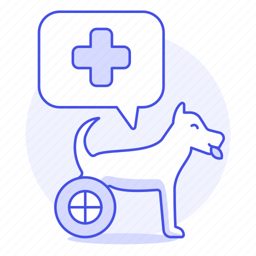 animal, care, cross, disable, dog, health, pet, puppy, red, vet, wheel, wheelchair icon