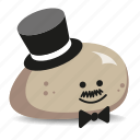 pet-rock, posh, rock, smart, top-hat icon