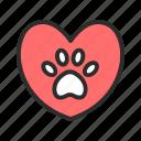 heart, paw, love, pet, shop icon