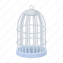 animal, bird, birdcage, cage, metalic, rods icon