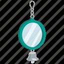 accessories, bell, bird, cage, mirror, pet