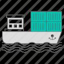 delivery, oil, petrol, sea, ship icon