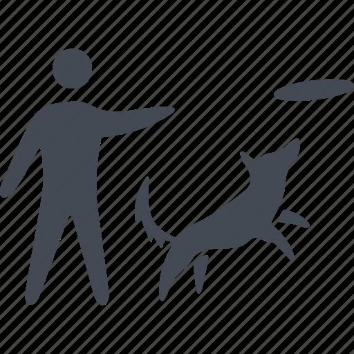 dog, man, pets, training icon