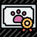 award, certificate, paw, pet icon