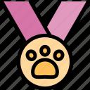 award, medal, paw, pet icon