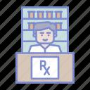 chemistry, druggist, drugstore, pharmaceutical, pharmacist, pharmacy, prescription icon