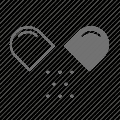 broken capsule, capsule, chemistry, drugstore, pharmaceutical, pharmacist, pills icon