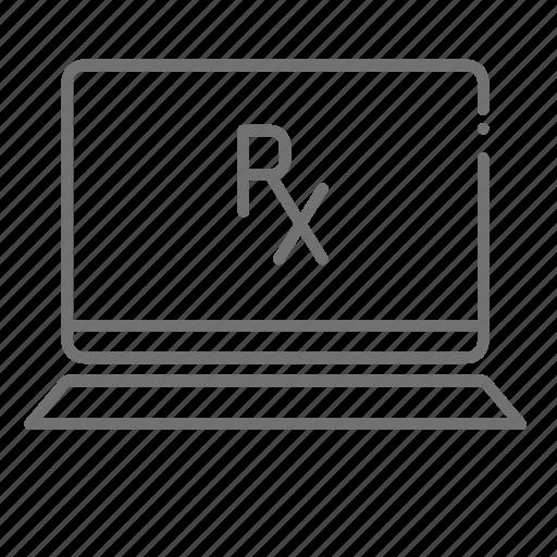 chemistry, drugstore, laptop, online pharmacy, pharmaceutical, pharmacist, prescription icon