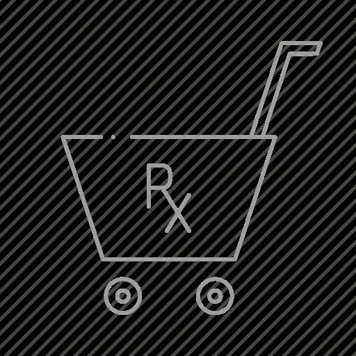 chemistry, drugstore, pharmaceutical, pharmacist, prescription, shopping cart, store icon