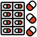 capsule, capsules, drugs, medications, medicines, meds icon