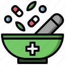 chemical, drugs, grinding, mortar, pestle, pills icon