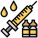 bottle, drugs, syringe, vaccination, vaccine icon