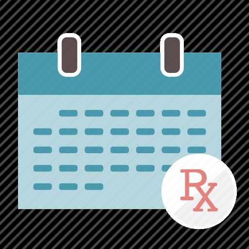 calendar, medication, monthly, prescription, rx, schedule icon