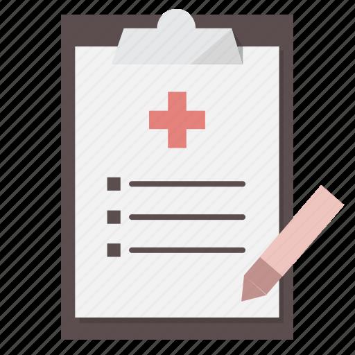 Paperwork, form, checklist, medical, clipboard, prescription, health insurance icon