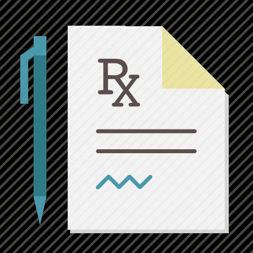 medical, pen, prescription, rx, signature icon