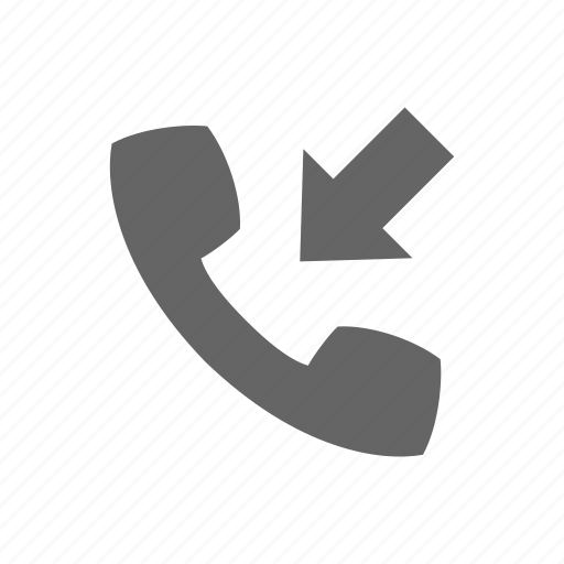 arrow, call, communication, incoming, phone, telephone icon