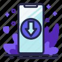 arrow, download, phone, smartphone
