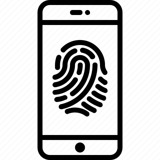 fingerprint, phone, privacy, scanner, security icon