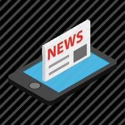 isometric, news, newspaper, phone, print, smart, text icon